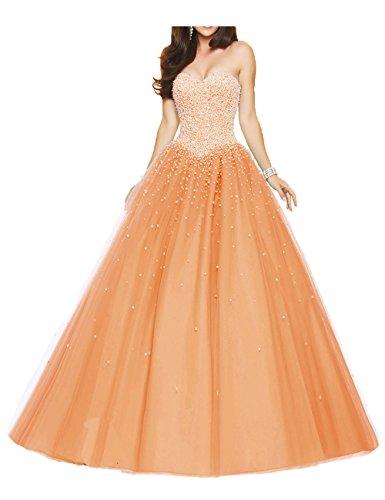 Abiti da Lungo da Principessa Quinceanera spalline sera PRTS vestito Vestito Arancione Senza ballo Tulle 0IRqXg