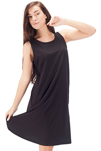 WEWINK CUKOO Womens Cotton Nightgown Sleeveless Sleep Dress Shirt Soft (Cotton Sleeveless Nightgown)