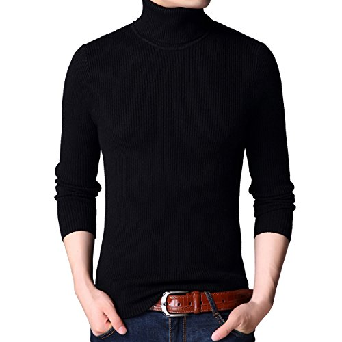 - Jiuhila Mens Casual Wool Cashmere Knitted Sweater Long Sleeve Turtleneck Pullover Tops (Large, Black)