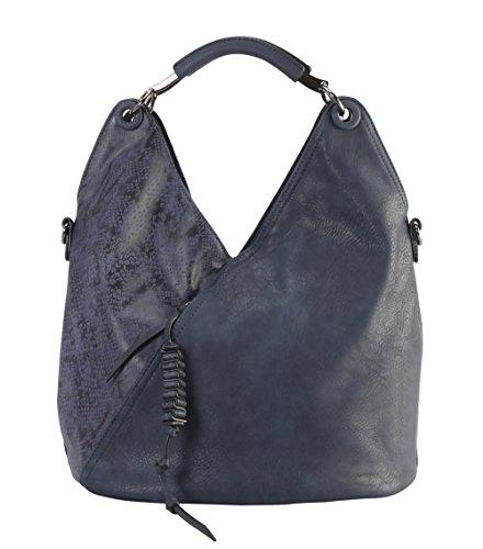 Diophy PU Leather V Shape Front Pocket with Animal Print Pattern Hobo Handbag (Leather Print Hobo Bag)