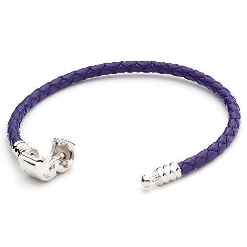 athenaie bleu foncé seul en cuir tressée 925 sterling silver snap fermoir bracelet charme européen correspond à tous 17cm (17 cm = 6.69inch)