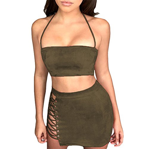 Spaghetti Strap Crop Top Side Lace Up Skirt Outfit Two Piece Bodycon Bandage Dress (Medium, Army Green) (Medium Womens Skirt Dress)