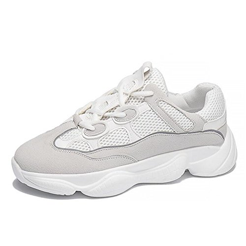 Zapatos de Mujer pequeños Zapatos Blancos de Verano Respirable, 2018 nuevos Zapatos Casuales de Fondo Grueso, Zapatillas de Deporte con Cordones de Moda Un
