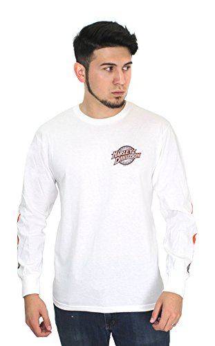 Harley-Davidson Mens Swift Throttle Flaming B&S White Long Sleeve (X-Large) (Jersey Swift)
