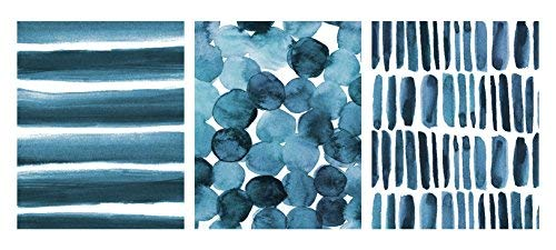 (Paper Riot Co. 8 x 10 inch Watercolor 3-Pack Art Prints, Blue Abstract)