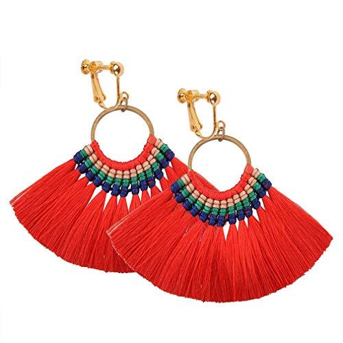 Tassel Clip on Earrings Bohemian Dangle Drop Fringe Thread Women Statement Ethnic Vintage Eardrop