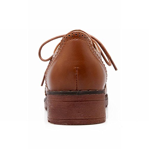 Latasa Mode Lace-up Bas Chunky Talon Chaussures Oxford Marron Clair