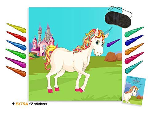 c7cc9f49dea2 Pin The Horn on The Unicorn Game - Birthday Party Supplies with Large  Rainbow Poster & 12 Stickers | Alpine Celebrations