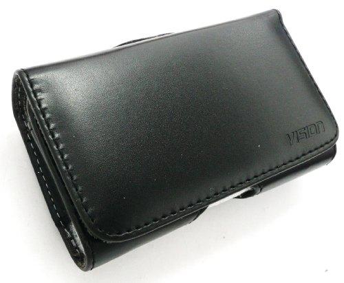 Emartbuy ® Vision Slim Line Value Pack Para Samsung Galaxy Tendencia S7560 Compatible Cuero De La Pu Cubierta De La Caja Horizontal Pouch Negro (Tamaño X-Large) Con La Correa Clip + Protector De Panta