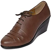 MarcLoire Women Formal Shoes, Girls Fashion Casual Party Shoes, Closed Toe Lace Up Sneakers, Ladies Wedges Shoes - Synthetic, Brown
