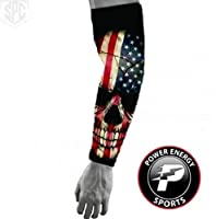 Baseball Sports Compression Arm Sleeve - USA American Flag Skull