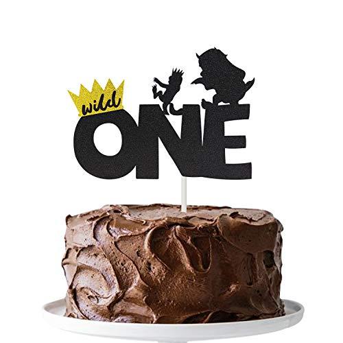 Joymee Wild One Cake Topper,Kids Boy or Girl 1st First Birthday Cake Decorations, Double Sided Handmade Glitter -