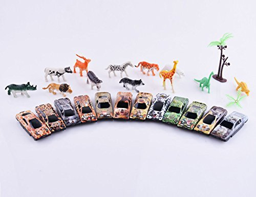 Sakiyr 31 Piece Mini Jungle Toys with Pastic Animal Metal, Vehicle Playset for Kids -