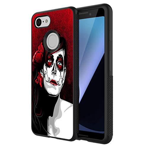 (HICKORY Slim Fit Google Pixel 3 Case, Shockproof Anti-Scratch Resistant Thin Black Back Cover Case Suger Skull Google Pixel 3)