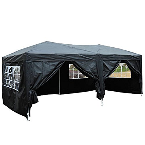 VINGLI 10' x 20' Ez Pop Up Canopy Tent w/6 Removable Sidewalls,w/4 Windows and Zippered Door,Outdoor Wedding Party Canopy Sun Gazebo Pavilion Event, w/Carrying Case Bag, Black