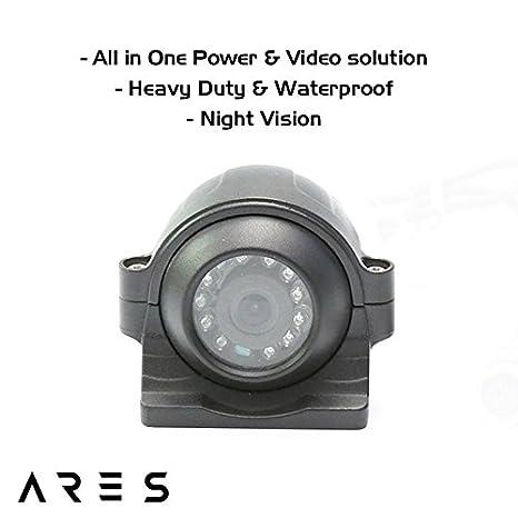 720P, Black R//F Ares Vision Vehicle 720P AHD Aviation 4 PIN HD Rear//Front Waterproof Camera