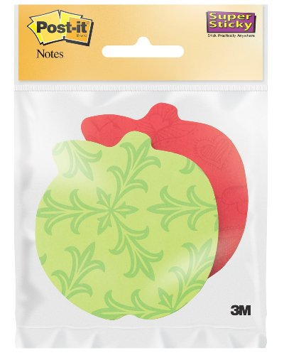 Post-it Super Sticky Notes, 3 x 3-Inches, Apple Shape, Assorted Bright Colors, 2-Pads/Pack, 2-PACK
