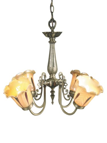 Dale Tiffany TH70240 Columbus Tulip Light Fixture, Antique Brass and Glass Shade