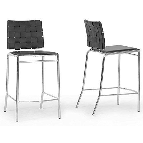 Wholesale Interiors Steel Bar Stool - Baxton Studio Vittoria Leather Modern Counter Stool, Black, Set of 2