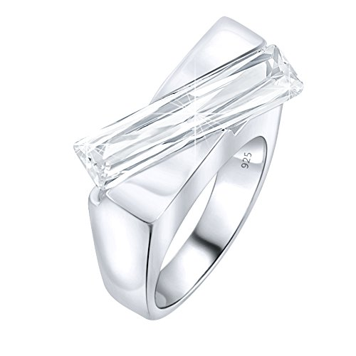 Abstract Design Ring - Mother's Day Gift Women's Sterling Silver .925 Abstract Ring with Clear Rectangle Elongated Cubic Zironia (CZ) Stone, Platinum Plated Jewellery