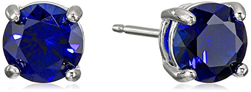 Sterling Silver Created Blue Sapphire Round September Birthstone Stud Earrings