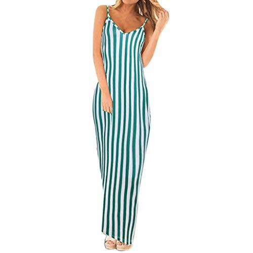 EDTO Women's Stripe Spaghetti Strap Dress, Elegant Sleeveless Casual Long Dress Army Green
