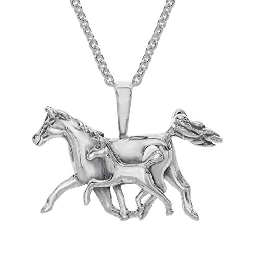 Kabana Mother's Jewel Horse Pendant Necklace in Sterling - Kabana White Pendant
