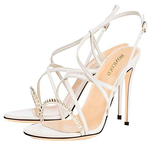MONICOCO - Zapatos con correa de tobillo Mujer Blanco - Weiß Pu