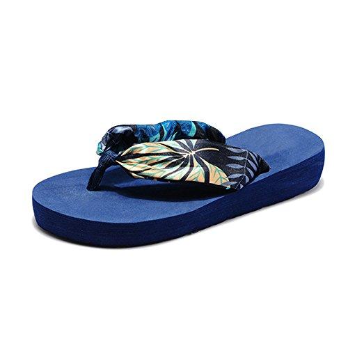 OCHENTA Sandalias - zapatillas de seda - pendiente con la playa Azul