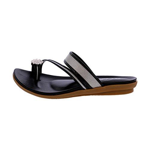 Bolaro - Sandalo Da Donna Con Cinturino In Pelle - Sandalo Nero Nero / Anello Punta