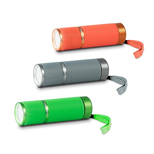 Price comparison product image LUX-PRO LP395 Gels Glow-in-the-Dark LED Flashlight (3 Pack) - SILVER,  GREEN & ORANGE