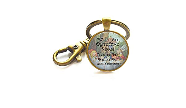 "Cheshire Cat Bottle Opener Keyring /""We/'re All Mad Here/"" key fob"