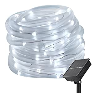 LTE 33ft 100 LED Solar Rope Lights, Outdoor Waterproof Solar Rope Lights , Ideal for Decorations,Christmas,Gardens, Lawn, Patio, Weddings, Parties.(Daylight White)