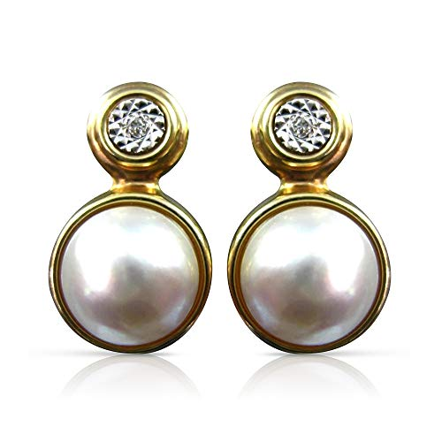 Milano Jewelers Large .04CT Diamond & Mable Pearl 14KT 2 Tone Gold Hanging Earrings 25851