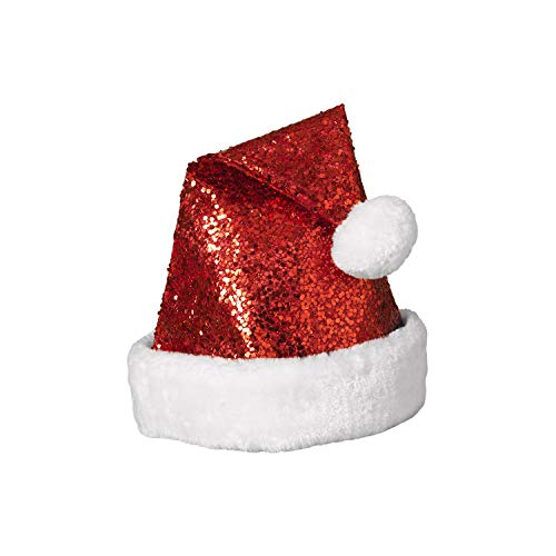 Sequined Red Santa Hat with White Fur Trim and Pom - Adult -