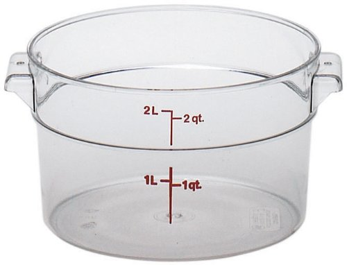 (Cambro RFSCW2135 Camwear 2-Quart Round Food Storage Container, Polycarbonate, Clear, NSF )