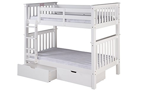 Camaflexi Santa Fe Mission Tall Bunk Bed Attached Ladder with Under Bed Drawers, Twin over Twin, White