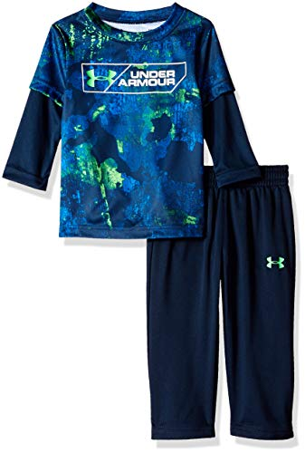 Under Armour Boys' Baby Two Piece Graphic Tee and Pant Set, Bedrock Academy, 0-3 Months
