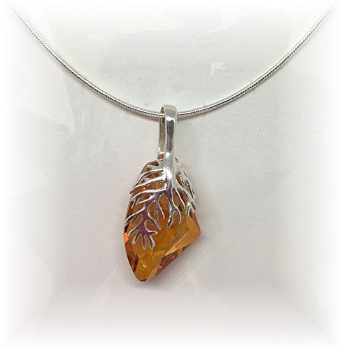 Swarovski Galactic Vertical Crystal Topaz ~Handmade~ Necklace & Pendant With Sterling Silver 18