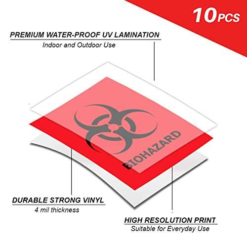 Biohazard Danger Warning Label for Lab Hospital Industrial Use Label Vinyl Decal - Hazardous Material Eco Safety Adhesive Vinyl 5