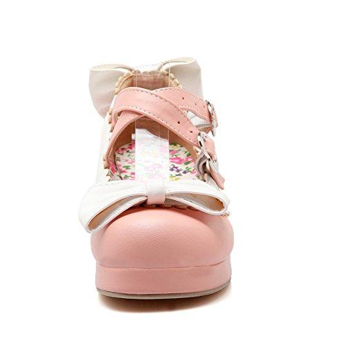 VogueZone009 Damen Rund Zehe Mittler Absatz Gemischte Farbe Schnalle Pumps Schuhe Pink