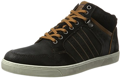 AUSTRALIAN Weatherspoons Leather, Sneaker a Collo Alto Uomo Schwarz (Black-tan-off White)