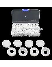 JaneYi 100 stuks schroefafdekkingen kunststof schroefdop schroefsluitingen met opbergdoos voor meubelkasten kledingkast