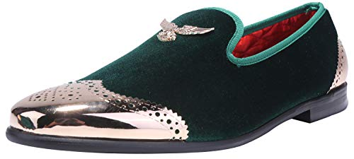 ELANROMAN Men's Loafers Black Velvet Dress Shoes Gold Metal Eagle Buckle Wedding Slippers Slip on Penny Luxury Party Oxfords Shoes for Men Olive US 13 EUR 47 Feet Lenght 310mm ()