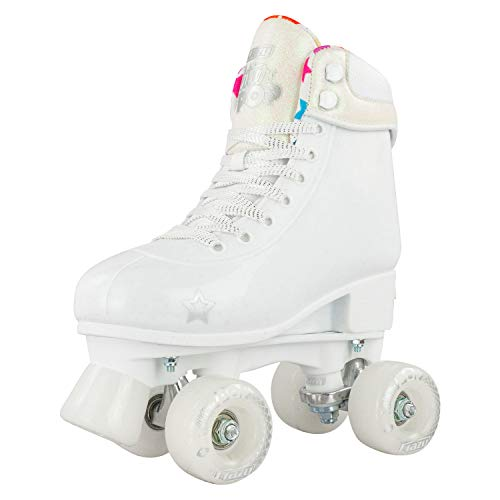 Crazy Skates Adjustable Roller Skates for Girls and Boys - Glitter Pop Collection - White (Sizes 3-6) (White Roller Skates)