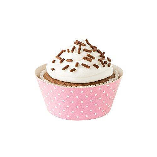 Fox Run 7176 Polka Dot Cupcake Wrapper Set, Standard, Pack of 12, Pink and Brown Pink And Brown Cupcakes