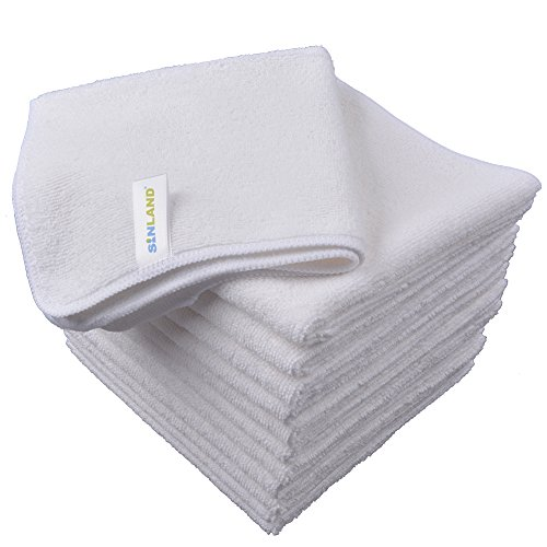 Sinland Microfiber Cleaning Cloth Dish Cloth Kitchen Streak Free Absorbent Dish Rags Lens Cloths 12Inchx12Inch 12 Pack (12, White)