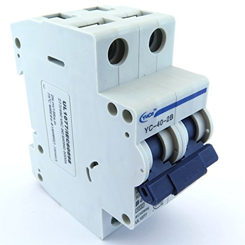 40a 2p Circuit Breaker - YC-40-2B YuCo SUPPLEMENTAL PROTECTOR DIN RAIL MINIATURE CIRCUIT BREAKER 2P 40A B CURVE 277/480V 50/60Hz TUV UL 1077 EUROPEAN DESIGN CSA C22.2