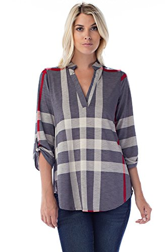 (Betsy Red Couture Women's Plus Size Notch Neck Tunic Top,Grey/Off White/Red Plaid,3X)