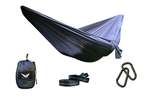Tree Cradle Double Hammock Kit – Includes Ripstop Hammock, Tree Straps, Steel Carabiners and Pouch. Ripstop Parachute Nylon for Hiking, Camping, Travel, Beach Backpacking